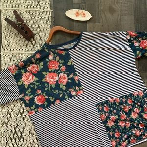 ASOS CURVE Mixed Patter Floral and Stripe Tee